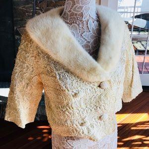 White mink vintage 60s jacket